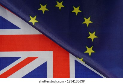 Brexit. Flag of United Kingdom and European Union