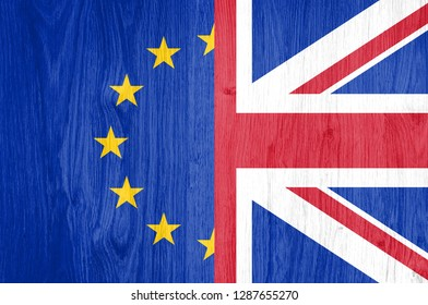 Brexit. Flags of Eu and UK