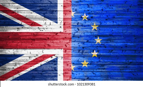 Brexit, Flags Of The United Kingdom And The European Union On Wooden Background
