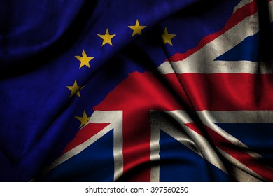 Brexit. Flags of the United Kingdom and the European Union to illustrate possible exit of Great Britain from the EU