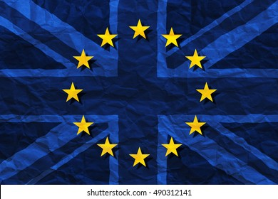 Brexit, flags of the United Kingdom and the European Union on crumpled paper background. Referendum 2016