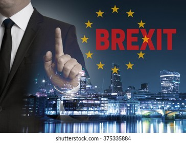 Brexit on United Kingdom membership of the European Union London skyline concept with businessman.