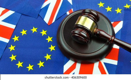 Brexit referendum concept with EU and UK flags and gavel
