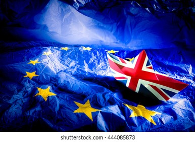 Brexit referendum UK (United Kingdom or Great Britain or England) withdrawal from EU (European Union),British vote leave. The boat flag of UK Symbolic that represent a lot of concept design to Brexit.