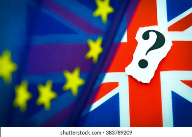 Brexit UK EU referendum concept with flags and question mark symbolising uncertainty