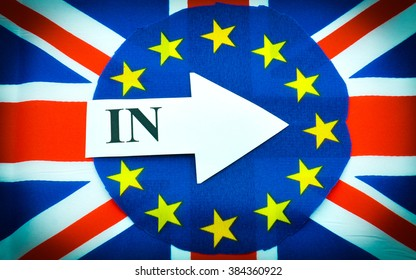 Brexit UK EU referendum concept with flags and in message