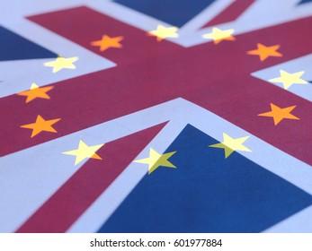 Brexit - United Kingdom (Union Jack) and European Union flags superimposed