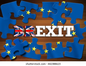 Brexit - Word breaking puzzle flag of the European Union on wooden background