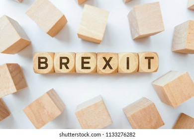 Brexit word on wooden cubes