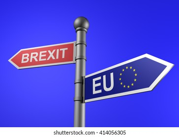 brexit-eu guidepost on a blue background