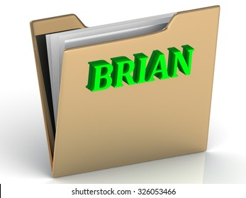 BRIAN- Name and Family bright letters on gold folder on a white background