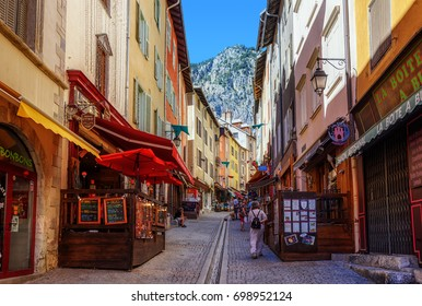 Briancon, France - July 03, 2017: Pedestrian street in the Old Town of Briancon, Provence. Briancon is the highest town in France, a popular tourist resort and hosts Tour de France bycicle race