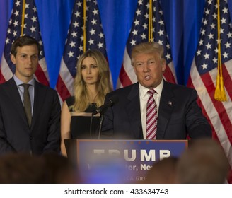 Briarcliff Manor, NY USA - June 7, 2016: Donald Trump speaks during post-election remarks at Trump National Golf Club Westchester