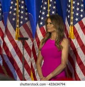 Briarcliff Manor, NY USA - June 7, 2016: Melania Trump attends Donald Trump speech during post-election remarks at Trump National Golf Club Westchester