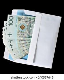 Bribery concept envelope with money