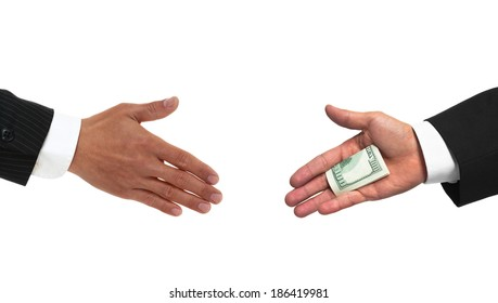 Bribery handshake with money