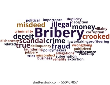 Bribery, word cloud concept on white background.