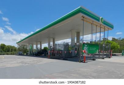 BRIBIE ISLAND, AUSTRALIA - Jan 22, 2021: a BP gas station pump under repair on sunny day