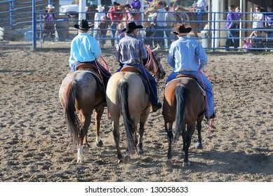 BRICE CANYON CITY, UTAH - JUNE 25: Cowboys ride their horses at a rodeo show at Ruby's Inn Bryce Canyon Country Rodeo on June 25, 2011 in Brice Canyon City.