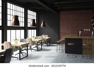Brick and black loft bar interior with a concrete floor, a bar with stools and wooden tables with chairs. A side view. 3d rendering mock up