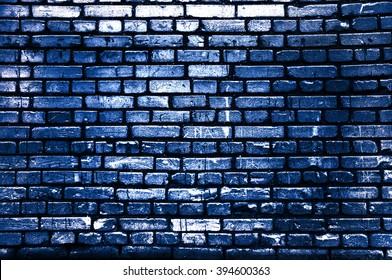 Brick blue wall