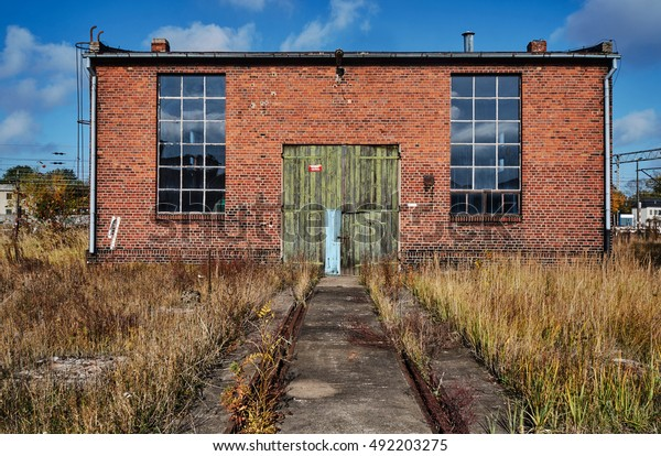 Brick Building Abandoned Roundhouse Gniezno Poland Stock