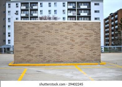 "Brick building in parking lot ""back"""