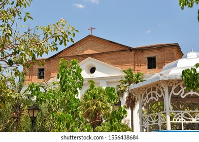 brick church and bandstand in world heritage city of Goiás