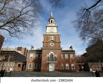 Brick clock tower at historic Independence Hall National Park in Philadelphia