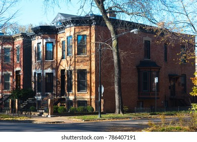 Brick duplex buildings on a Chicago street