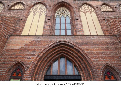 Brick facade of Gothic cathedral in Kaliningrad, Russia. Built in the 14th century