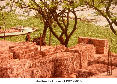 brick field on the side of river,8july2018,dhaka, Bangladesh