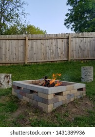Brick Firepit with Burning Fire