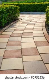 Brick floor pathway with cut bush in both side