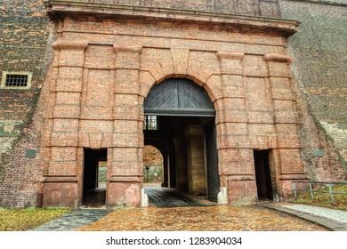 Brick gate to the fortress Vysehrad in Prague (Praha), Czech Republic