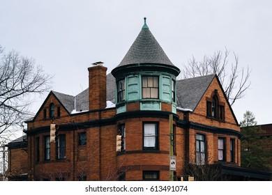 Brick house along Calvert Street in Charles Village, Baltimore, Maryland.