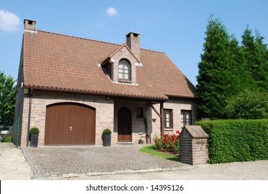 Brick house in big city suburbia
