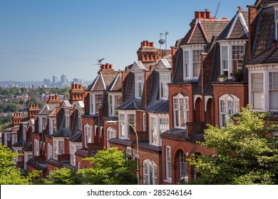 Brick houses on a panoramic shot from Muswell Hill, London, UK