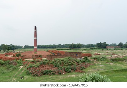 A brick kiln in a field at a remote location in India. It is used to produce bricks.