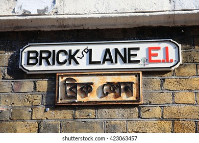 Brick Lane road sign in Whitechapel, Tower Hamlets, London, England, UK, which is commonly known as Banglatown and is the heart of the city's Bangladeshi-Sylheti community
