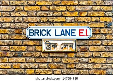Brick Lane street sign in East End, London - UK