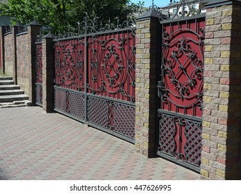 Brick And Metal Fence With Door And Gate Of Modern Style Design Decorative  Cracked Brick Wall