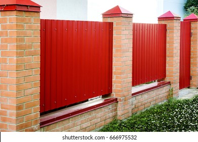 Brick and Metal red Fence with Door and Gate of Modern Style Design Metal Fence Ideas.