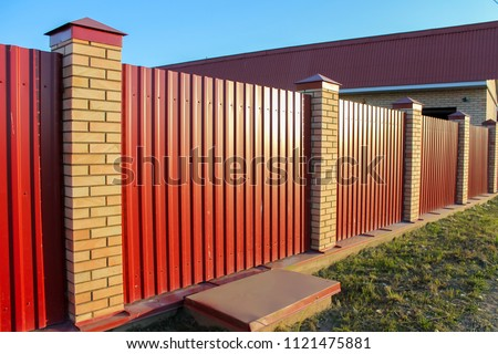 Brick And Metal Red Fence With Door And Gate Of Modern Style Design Metal Fence  Ideas