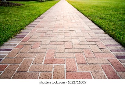 Brick path or sidewalk with perspective going into the distance with soft sunlight reflecting of the bricks. Long paved brick footpath outside with grass. - Shutterstock ID 1022711005