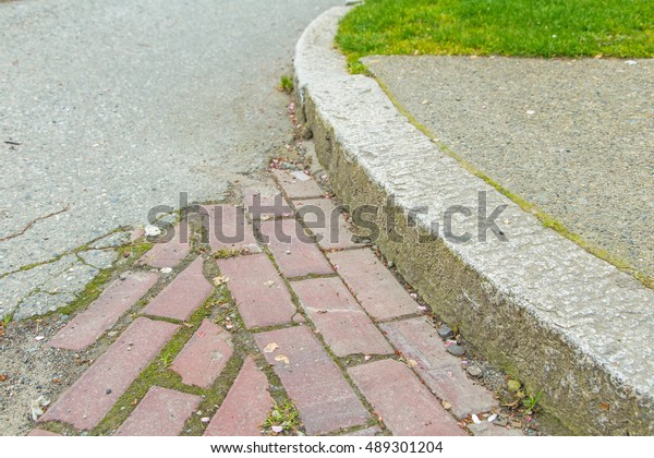 Brick Pavers Curved Granite Curb Stock Photo (Edit Now