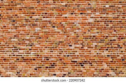 Brick red wall texture, full image of bricks, urban background