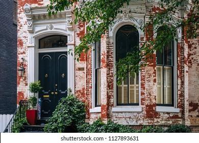 A brick row house in Georgetown, Washington, DC.