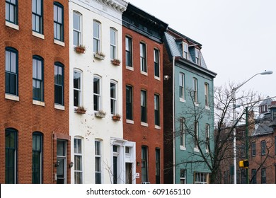 Brick row houses in Mount Vernon, Baltimore, Maryland.
