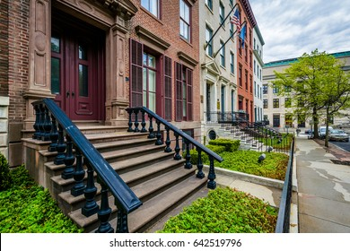 Brick rowhouses on Elk Street in Albany, New York.